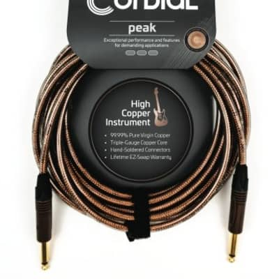 """Cordial 1/4"""" to 1/4"""" Straight 10' Instrument Cable - Clear - CSI3PP-METAL"""