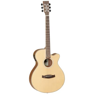Tanglewood DBT-SFCE-OV Discovery Spruce/Ovangkol Super Folk Cutaway with Electronics Natural Open Pore Satin for sale