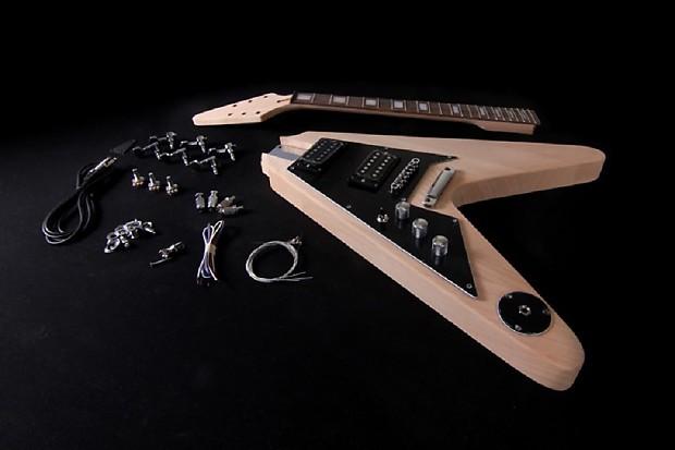 diy left handed electric guitar kit project flying v bolt on reverb. Black Bedroom Furniture Sets. Home Design Ideas