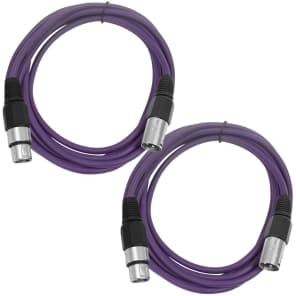 Seismic Audio SAXLX-6-PURPLEPURPLE XLR Male to XLR Female Patch Cables - 6' (2-Pack)