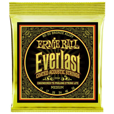 Ernie Ball Everlast Coated 80/20 Bronze Acoustic Guitar Strings - Medium (13-56)