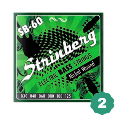 New Strinberg SB-60 Medium Nickel Wound 6-String Electric Bass Guitar Strings (2-Pack) + FREE Shipping