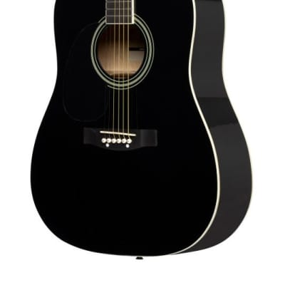 Stagg Left-Handed Dreadnought Acoustic Guitar - Black - SA20D LH-BK