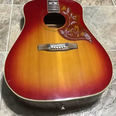 Vintage! 1970s Hondo II H180 Hummingbird Red burst Acoustic Guitar NEEDS REPAIR! for sale