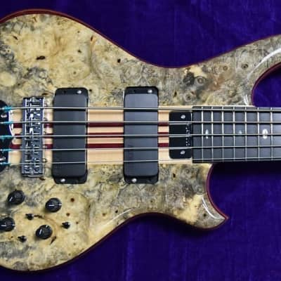 Alembic Mark King Deluxe 5-String, Buckeye Burl with Ebony Fingerboard and Blue Side LEDs for sale