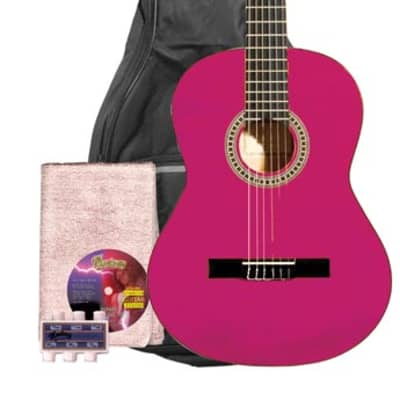 Monterey MC-139 Full Size Classical Guitar Pack - Pink - RRP: $149 - 50% OFF! for sale