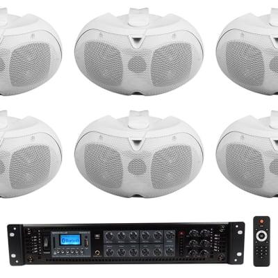 """Rockville 6-Zone Amplifier+10 White Dual 4"""" 70v Wall Speakers For Restaurant/Bar"""