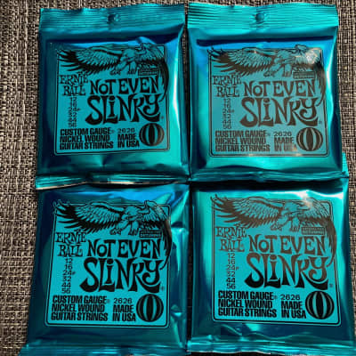 4 Packs of Ernie Ball 2626 Not Even Slinky Electric Guitar Strings (12-56) for detuning Free Winder