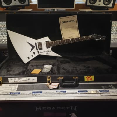 Dave Mustaine's Personally Owned Stage Used Megadeth Dean Silver Zero Explorer Guitar Signed by Him!