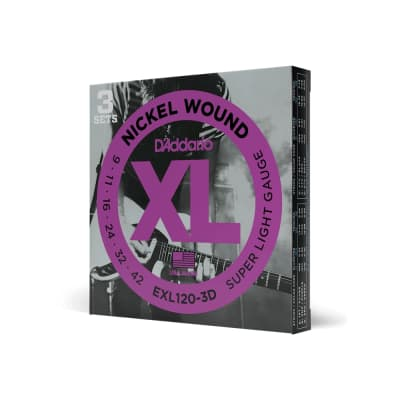 D'Addario XL Nickel Wound Electric Guitar Strings - Super Light (9-42) - 3 Pack