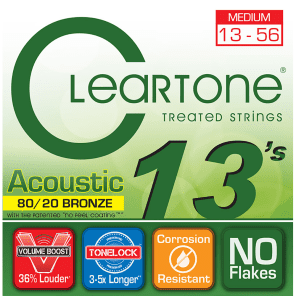 Cleartone 7613 80/20 Bronze Acoustic Guitar Strings - Medium (13-56)