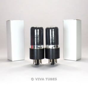 True NOS Plate Current Matched Pair Sylvania Leaf Black Glass 6V6GT Vacuum Tubes