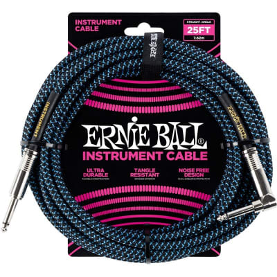 Ernie Ball 6060 Braided Instrument Cable, 25ft/7.6m, Black/Blue for sale