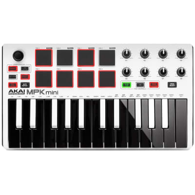 Akai MPK Mini MKII MK2 25-Key Compact USB MIDI Keyboard/Pad Controller White