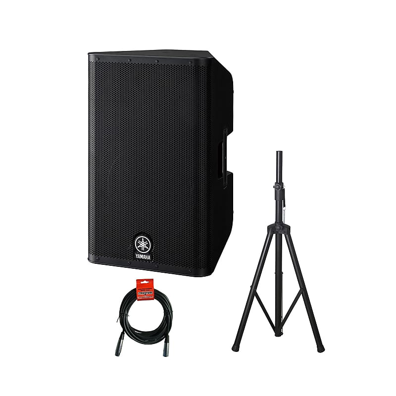 Yamaha DXR12 1100-Watt 1x12-Inch 2-Way Powered Loudspeaker with Rok-It  Tubular Speaker Stand and Mic