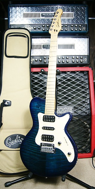 Godin Sdxt Hsh Flame Maple Top Made In Usa Reverb