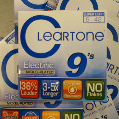 Cleartone Electric 9s Treaded Nickel plated 9-42 Super Light 12 sets + 1 Free 11s Medium set