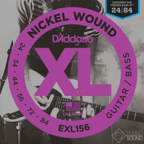 D'Addario EXL156 Nickel Wound Electric Guitar/Nickel Wound Bass Strings Fender Nickel Wound Bass VI 24-84