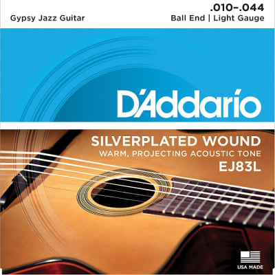 D'Addario Guitar Strings - Gypsy Jazz - Ball End - Silver Plated Wound EJ83L Light