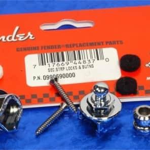 Genuine Fender Strap Locks, Chrome Schaller Style With Hardware 0990690000