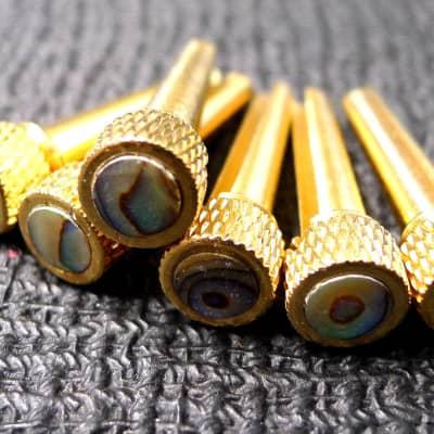 Gold Brass Guitar Bridge Pins Abalone Top