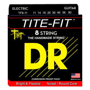 DR TF8-11 Tite Fit Nickel Plated 8-String Guitar Strings - Heavy (11-80)