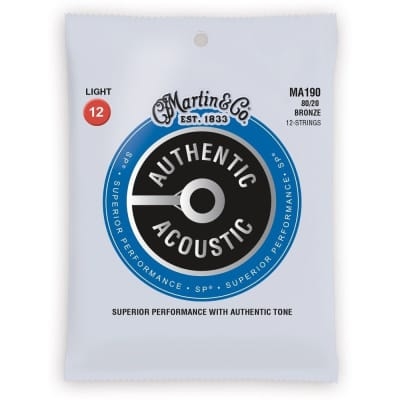 Martin MA190 SP 80/20 Bronze Authentic Acoustic Guitar Strings 12 String Light 12-54
