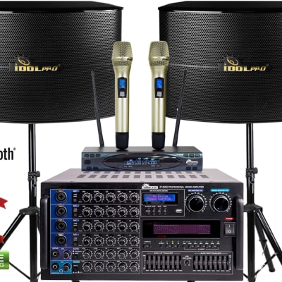 "IDOLpro 6000W Pro Karaoke Mixing Amplifier, 12"" Speakers, Dual Wireless Mics & 500W Subwoofer"