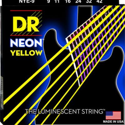 DR  NYE-9 Hi-Def Neon Yellow Coated Electric Guitar Strings 9-42  Neon Yellow