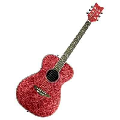 Daisy Rock Pixie Acoustic Guitar Pink Sparkle for sale