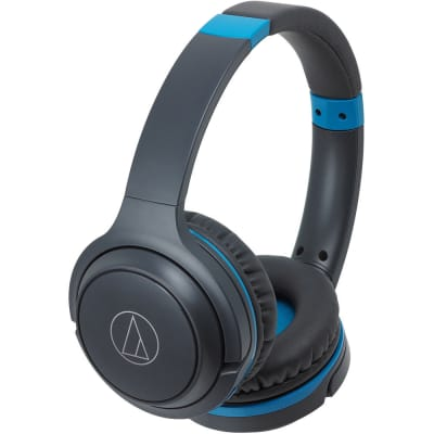 Audio-Technica Consumer ATH-S200BT Wireless On-Ear Headphones with Built-In Mic (Blue)