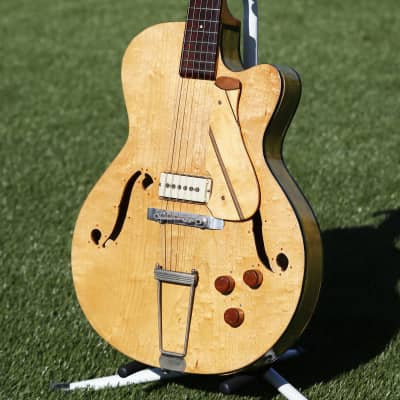 1950s Wayne Single Pickup Single Cut Vintage HomeMade Hollowbody Electric Guitar with Carvin Pickup for sale