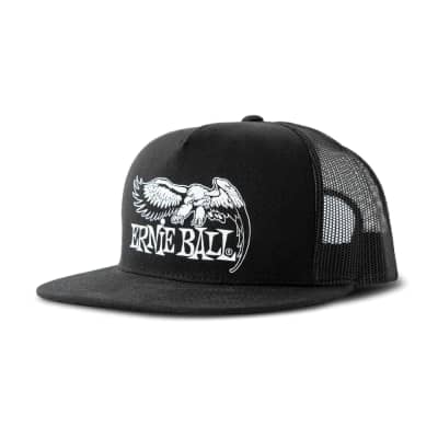 Ernie Ball Black & White Trucker Cap w/ Ernie Ball Eagle - Black for sale