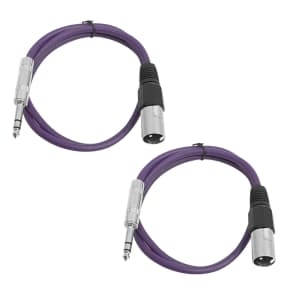 "Seismic Audio SATRXL-M2-PURPLEPURPLE 1/4"" TRS Male to XLR Male Patch Cables - 2' (2-Pack)"
