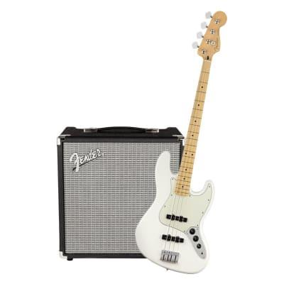 Fender Player Jazz Bass Polar White Maple & Fender Rumble 25 Bundle for sale