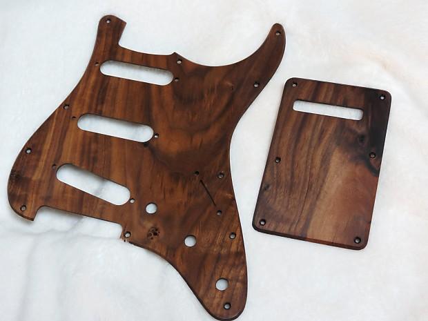 Black Walnut wood Stratocaster Strat Pickguard Set with Backplate