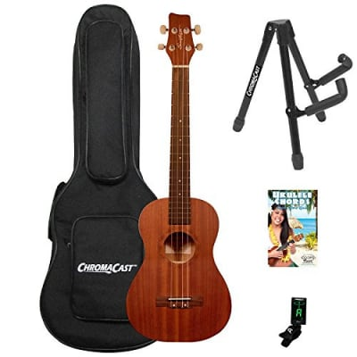 Sawtooth Mahogany Baritone Ukelele with Quick Start Guide & ChromaCast Accessories, Natural Satin for sale