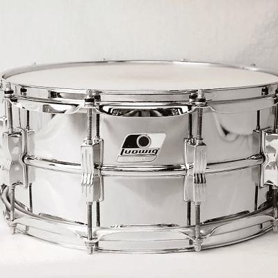 "Ludwig LM302 Rocker 6.5x14"" 10-Lug Steel Snare Drum"
