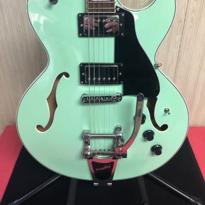 Dean Colt Semi-Hollowbody Electric Guitar with Bigsby Vibrato, Aqua Finish w/HSC