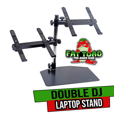 Double DJ Laptop Stand by FAT TOAD | 2 Tier PC Table Holder | Portable Computer Clamp Equipment Rack
