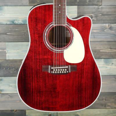 Takamine JJ325SRC-12 John Jorgenson, 12-String Acoustic-Electric Guitar - Gloss Red for sale