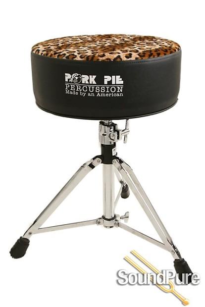 pork pie percussion round drum throne black leopard reverb. Black Bedroom Furniture Sets. Home Design Ideas