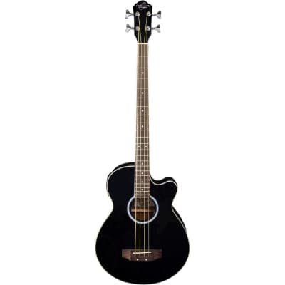 New Oscar Schmidt OB100B 4-String Acoustic Electric Bass Guitar with Bag, Black for sale
