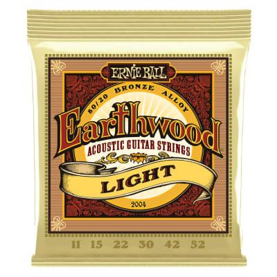 Ernie Ball P02004 Earthwood Light 80/20 Bronze Acoustic Guitar Strings 11-52 Gauge