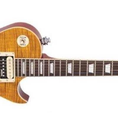 Vintage V100AFD ReIssued Electric Guitar, Flamed Amber for sale