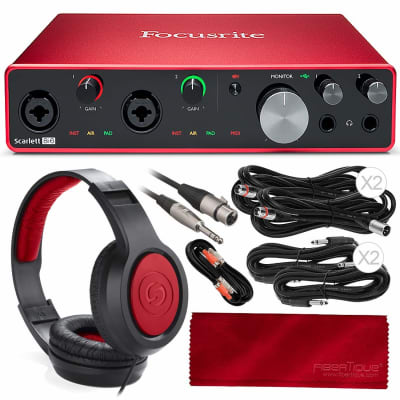 Focusrite Scarlett 8i6 8-in 6-out USB Audio Interface + Samson SR360 Over-Ear Dynamic Stereo Headphones, Cables, and Fibertique Microfiber Cleaning Cloth
