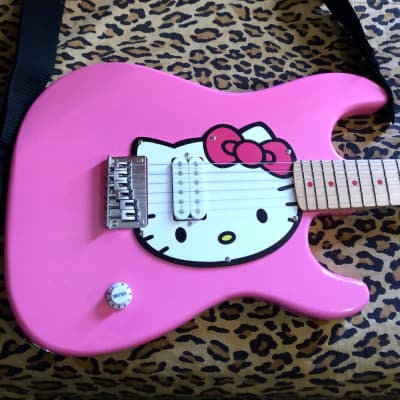 Fishbone Sour Puss Hello Kitty Strat Pink With Strap & Gigbag for sale