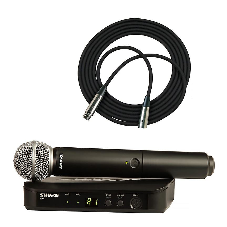 Shure BLX24/SM58 Handheld Wireless Microphone System w/ SM58 + 20' XLR Cable (H10 Freq.)