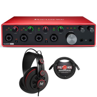 Focusrite 18i8 3rd Gen Home Recording Interface + Studio Headphones + Mic Cable
