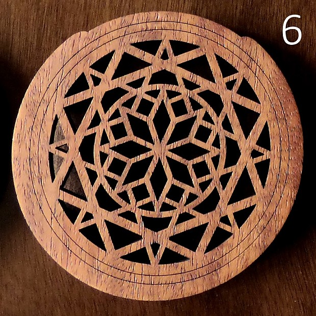 Natural Mahogany Soundhole Cover Laser Cut Design 6